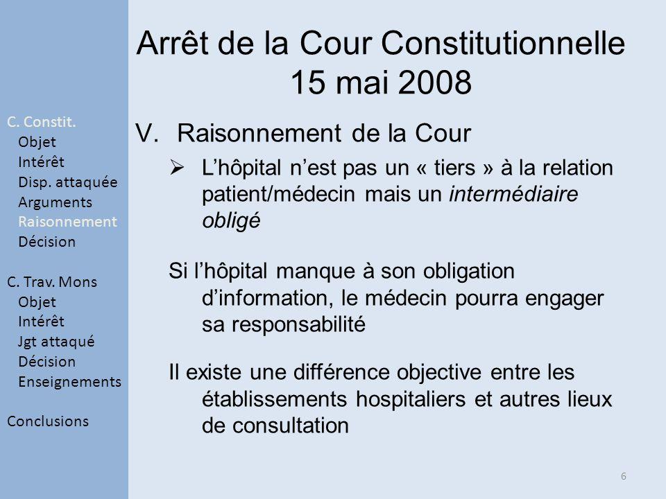 Arrêt de la Cour Constitutionnelle 15 mai 2008 V.Raisonnement de la Cour Lhôpital nest pas un « tiers » à la relation patient/médecin mais un interméd