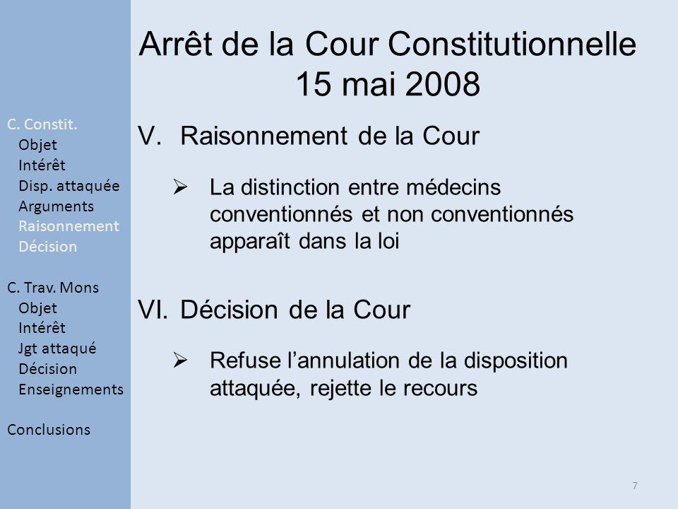 Arrêt de la Cour Constitutionnelle 15 mai 2008 V.Raisonnement de la Cour La distinction entre médecins conventionnés et non conventionnés apparaît dans la loi VI.Décision de la Cour Refuse lannulation de la disposition attaquée, rejette le recours 7 C.
