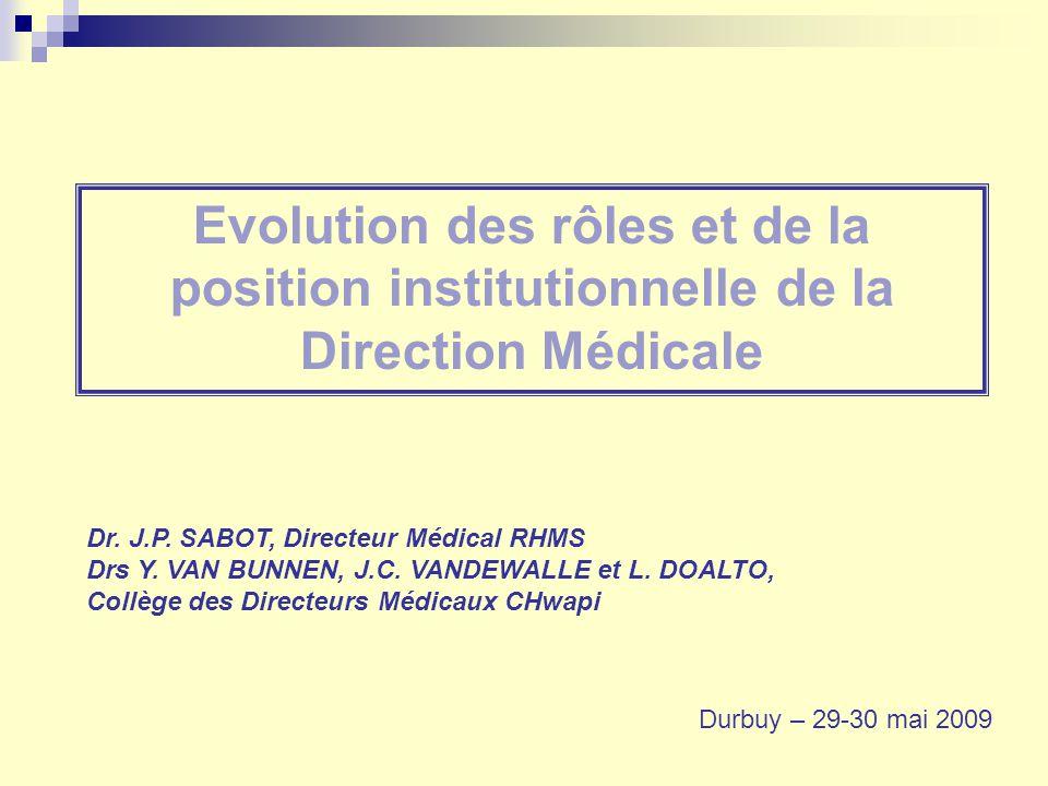 Evolution des rôles et de la position institutionnelle de la Direction Médicale Dr. J.P. SABOT, Directeur Médical RHMS Drs Y. VAN BUNNEN, J.C. VANDEWA