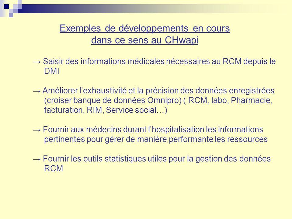 Exemples de développements en cours dans ce sens au CHwapi Saisir des informations médicales nécessaires au RCM depuis le DMI Améliorer lexhaustivité