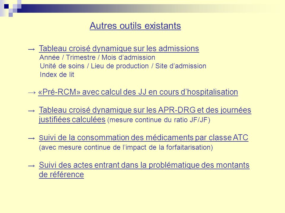 Autres outils existants Tableau croisé dynamique sur les admissions Année / Trimestre / Mois dadmission Unité de soins / Lieu de production / Site dad