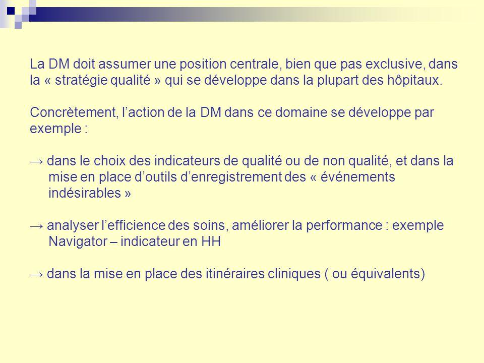 La DM doit assumer une position centrale, bien que pas exclusive, dans la « stratégie qualité » qui se développe dans la plupart des hôpitaux. Concrèt