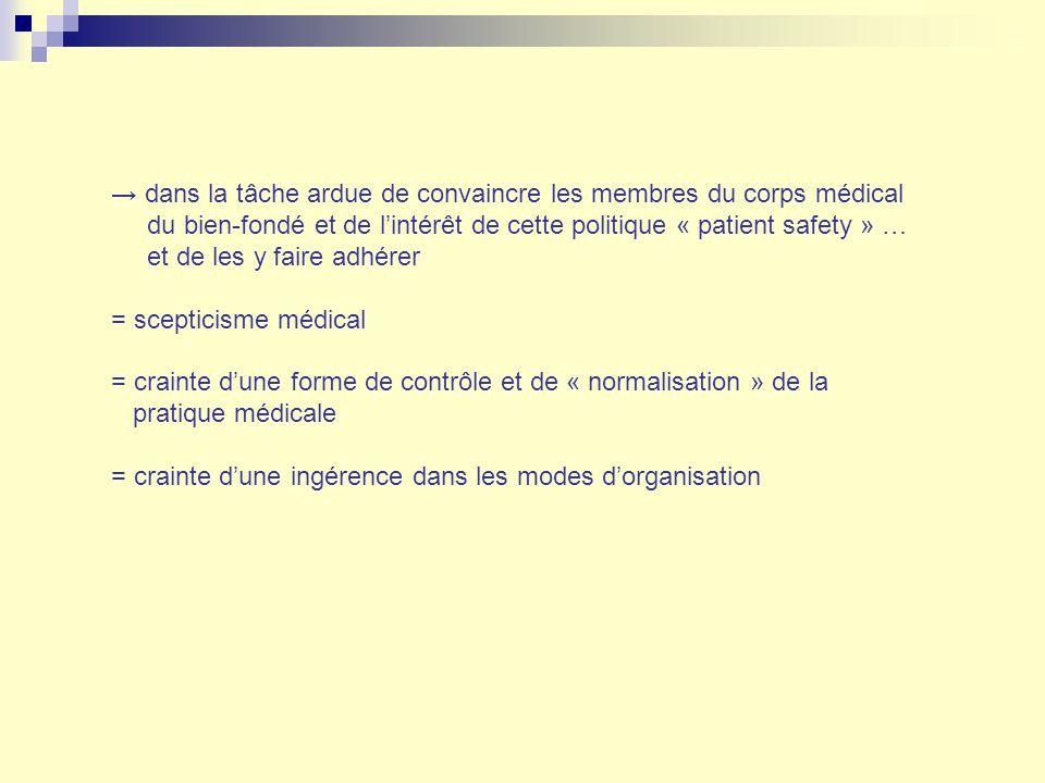 dans la tâche ardue de convaincre les membres du corps médical du bien-fondé et de lintérêt de cette politique « patient safety » … et de les y faire