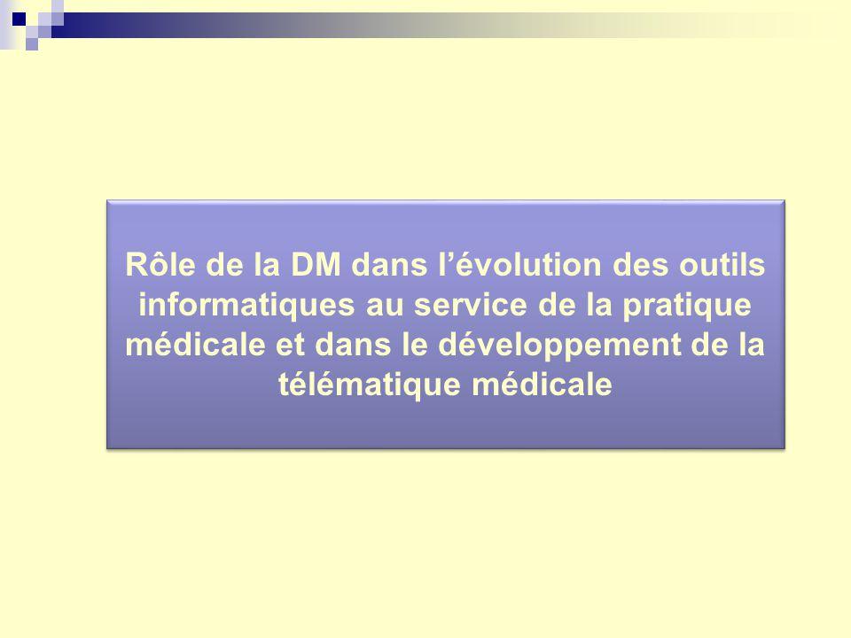 Rôle de la DM dans lévolution des outils informatiques au service de la pratique médicale et dans le développement de la télématique médicale
