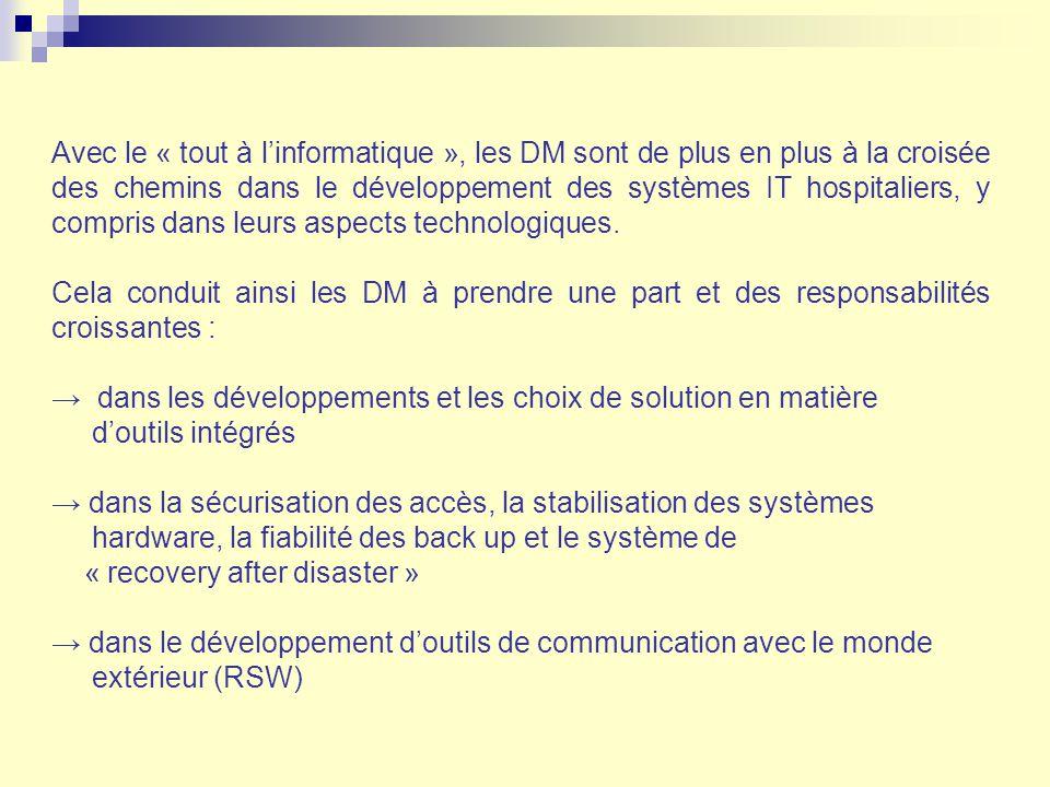 Avec le « tout à linformatique », les DM sont de plus en plus à la croisée des chemins dans le développement des systèmes IT hospitaliers, y compris d