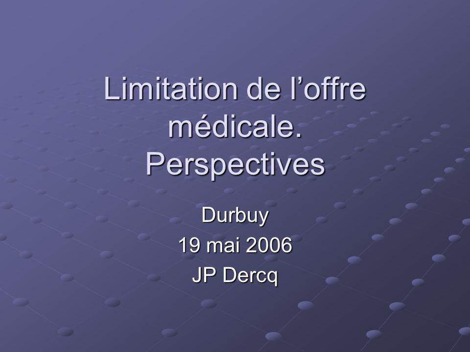 Limitation de loffre médicale. Perspectives Durbuy 19 mai 2006 JP Dercq