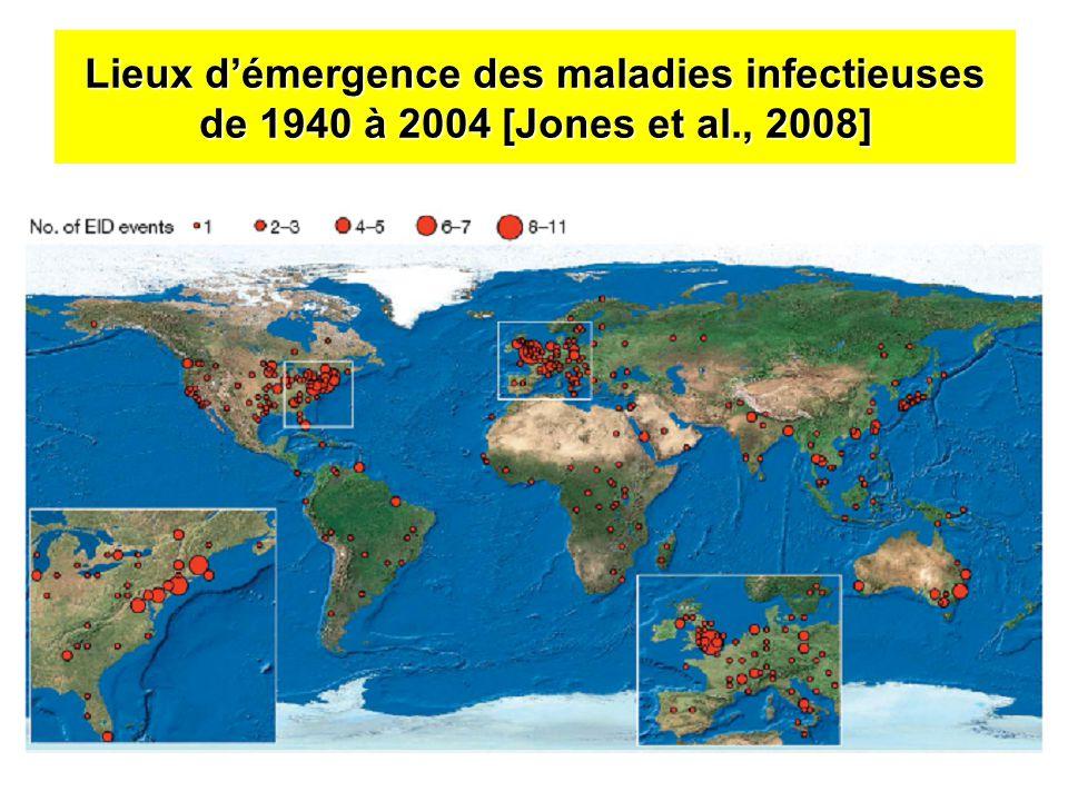 Lieux démergence des maladies infectieuses de 1940 à 2004 [Jones et al., 2008]