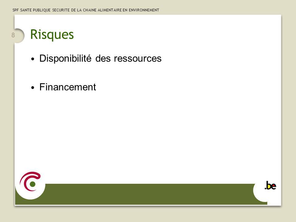 8 SPF SANTE PUBLIQUE SECURITE DE LA CHAINE ALIMENTAIRE EN ENVIRONNEMENT Risques Disponibilité des ressources Financement