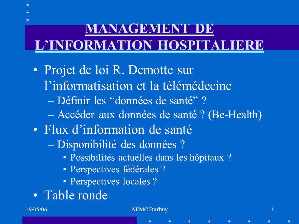 19/05/06AFMC Durbuy1 MANAGEMENT DE LINFORMATION HOSPITALIERE Projet de loi R.