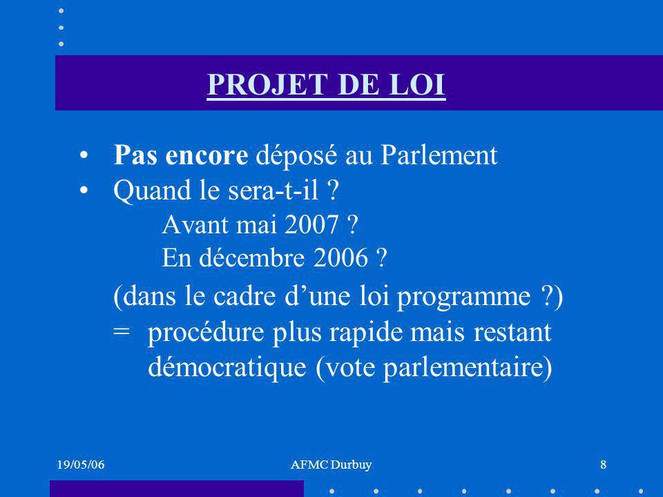 19/05/06AFMC Durbuy8 PROJET DE LOI Pas encore déposé au Parlement Quand le sera-t-il .