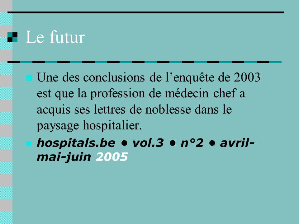 Le futur Une des conclusions de lenquête de 2003 est que la profession de médecin chef a acquis ses lettres de noblesse dans le paysage hospitalier.