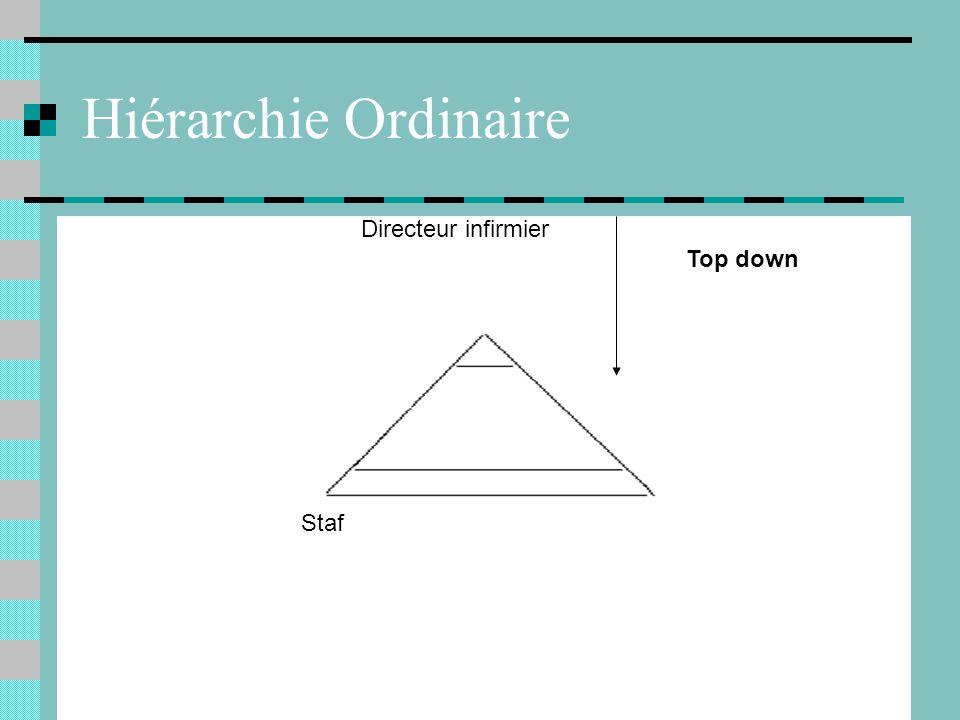 Hiérarchie Ordinaire Staf Directeur infirmier Top down