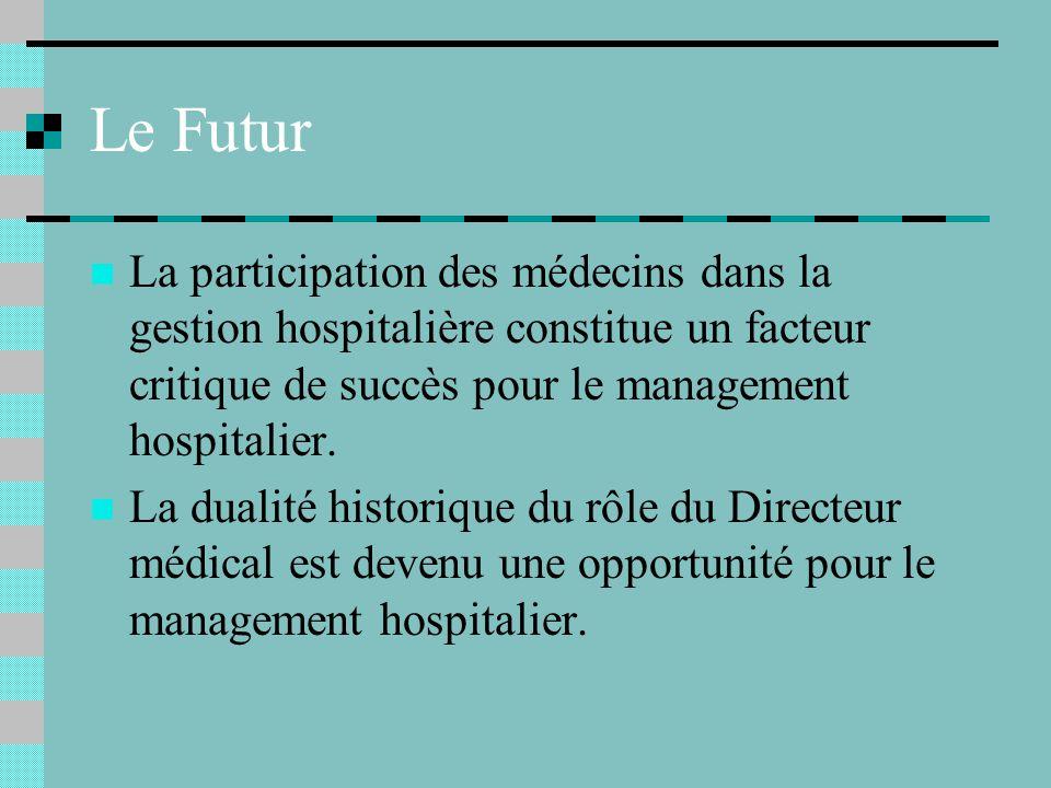 Le Futur La participation des médecins dans la gestion hospitalière constitue un facteur critique de succès pour le management hospitalier.