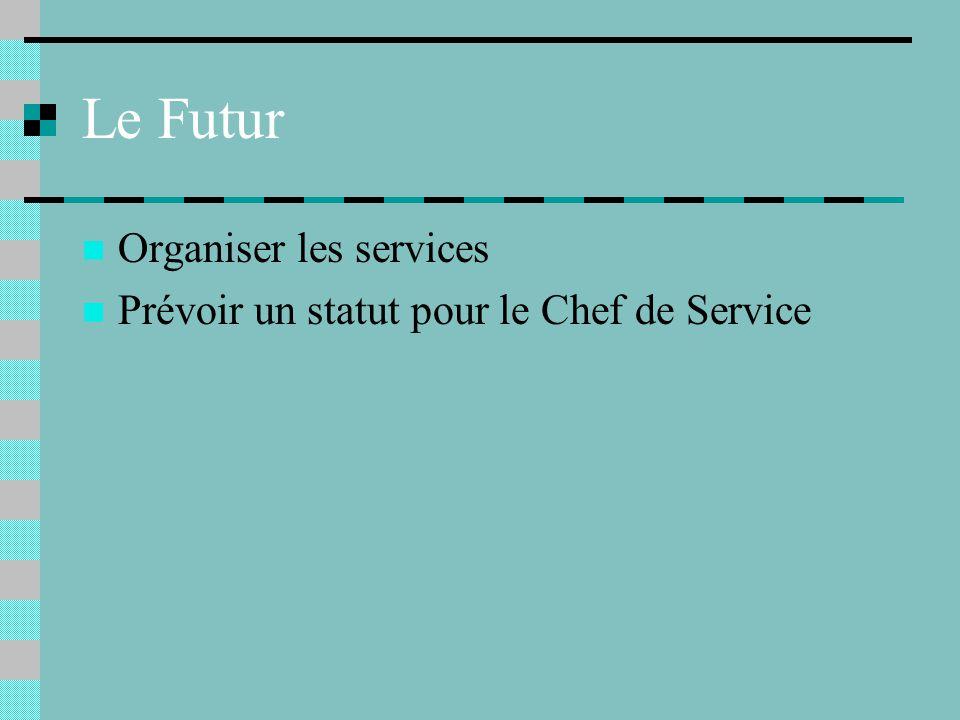 Le Futur Organiser les services Prévoir un statut pour le Chef de Service