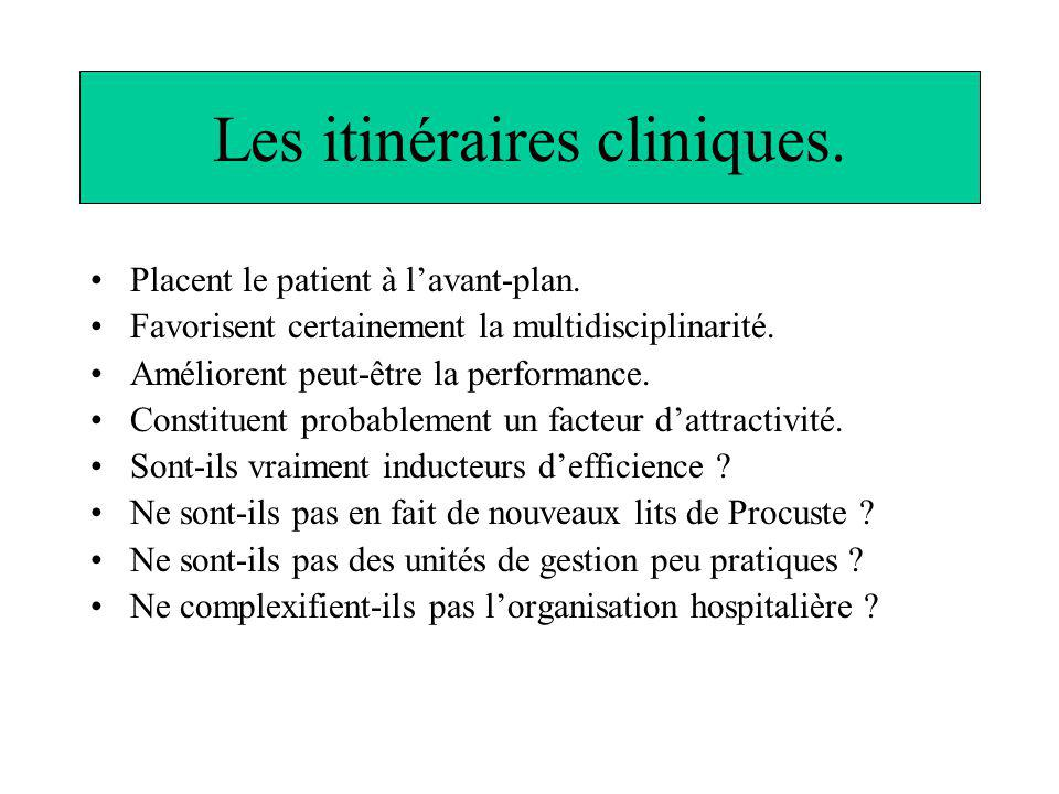 Les itinéraires cliniques. Placent le patient à lavant-plan. Favorisent certainement la multidisciplinarité. Améliorent peut-être la performance. Cons