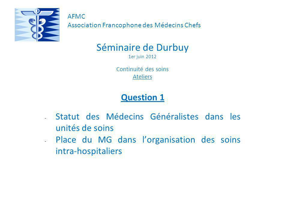 Séminaire de Durbuy 1er juin 2012 Continuité des soins Ateliers Question 1 - Statut des Médecins Généralistes dans les unités de soins - Place du MG dans lorganisation des soins intra-hospitaliers AFMC Association Francophone des Médecins Chefs