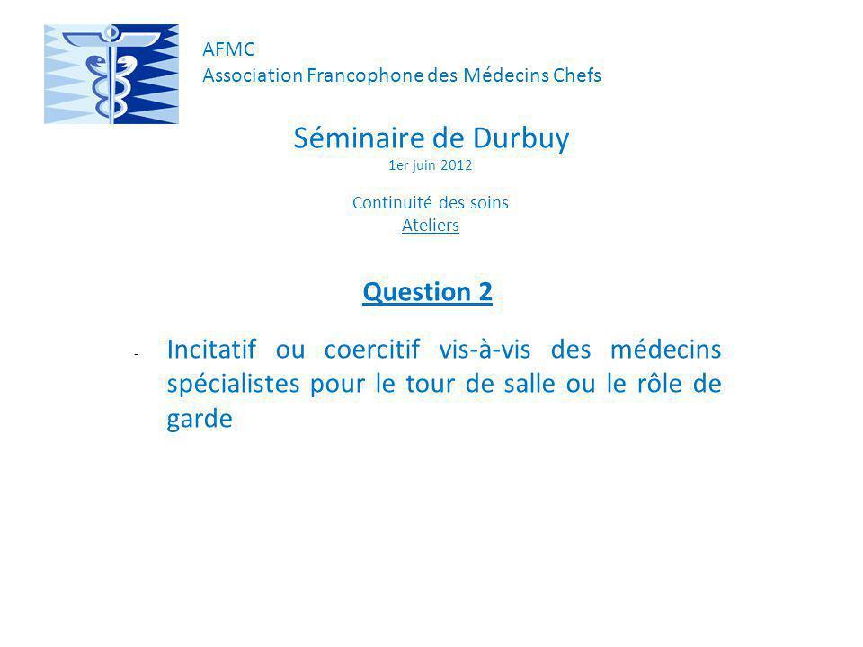 Séminaire de Durbuy 1er juin 2012 Continuité des soins Ateliers Question 2 - Incitatif ou coercitif vis-à-vis des médecins spécialistes pour le tour de salle ou le rôle de garde AFMC Association Francophone des Médecins Chefs