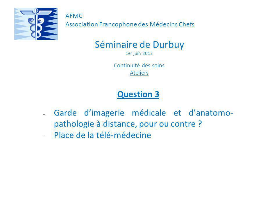 Séminaire de Durbuy 1er juin 2012 Continuité des soins Ateliers Question 3 - Garde dimagerie médicale et danatomo- pathologie à distance, pour ou contre .