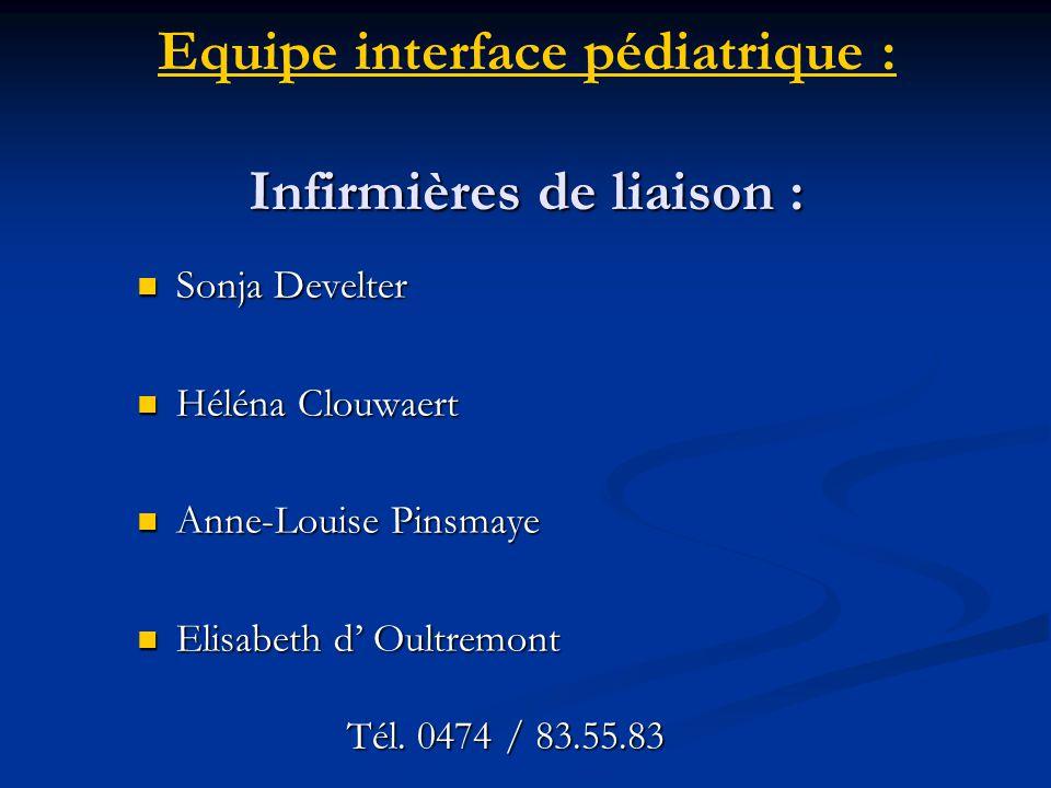 Infirmières de liaison : Equipe interface pédiatrique : Infirmières de liaison : Sonja Develter Sonja Develter Héléna Clouwaert Héléna Clouwaert Anne-