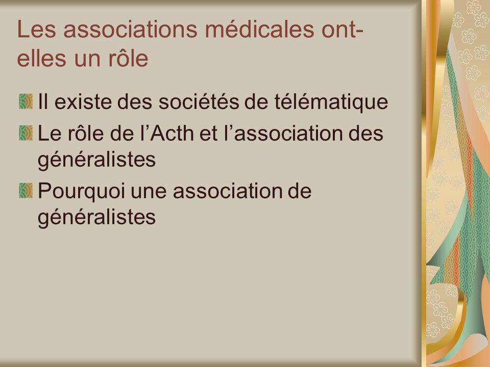 Les associations médicales ont- elles un rôle Il existe des sociétés de télématique Le rôle de lActh et lassociation des généralistes Pourquoi une association de généralistes