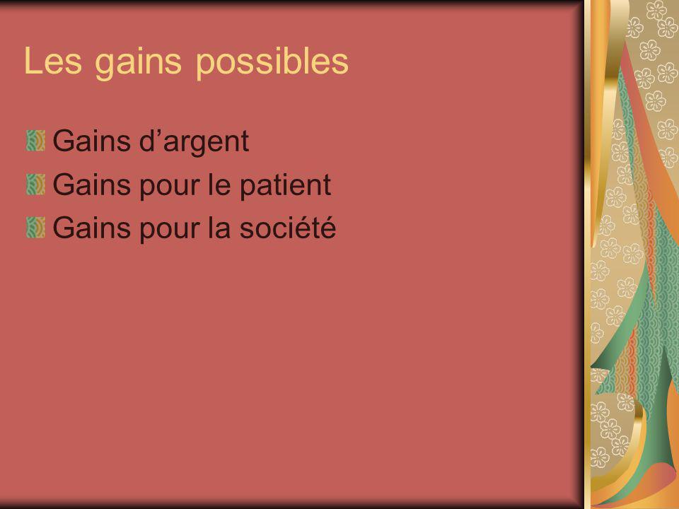Les gains possibles Gains dargent Gains pour le patient Gains pour la société