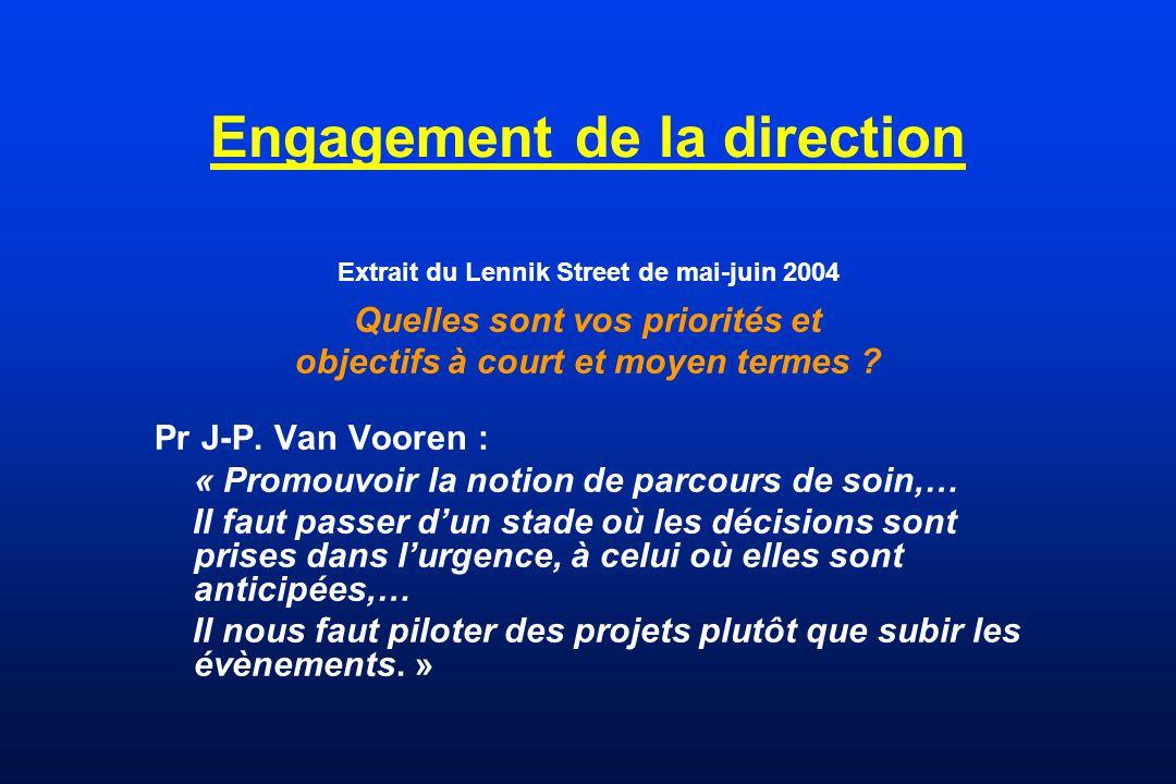 Engagement de la direction Extrait du Lennik Street de mai-juin 2004 Quelles sont vos priorités et objectifs à court et moyen termes ? Pr J-P. Van Voo
