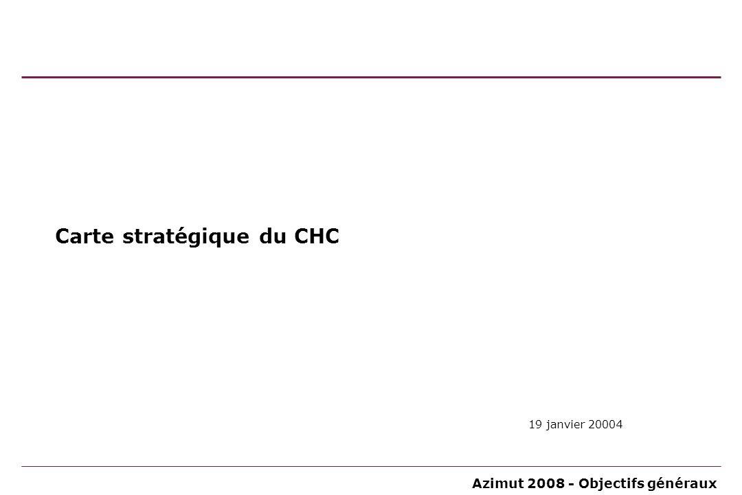 Azimut 2008 - Objectifs généraux À partir des réflexions tirées des constats nous avons réalisé la définition des clés stratégiques du CHC Points forts Points faibles Menaces Affronter…...
