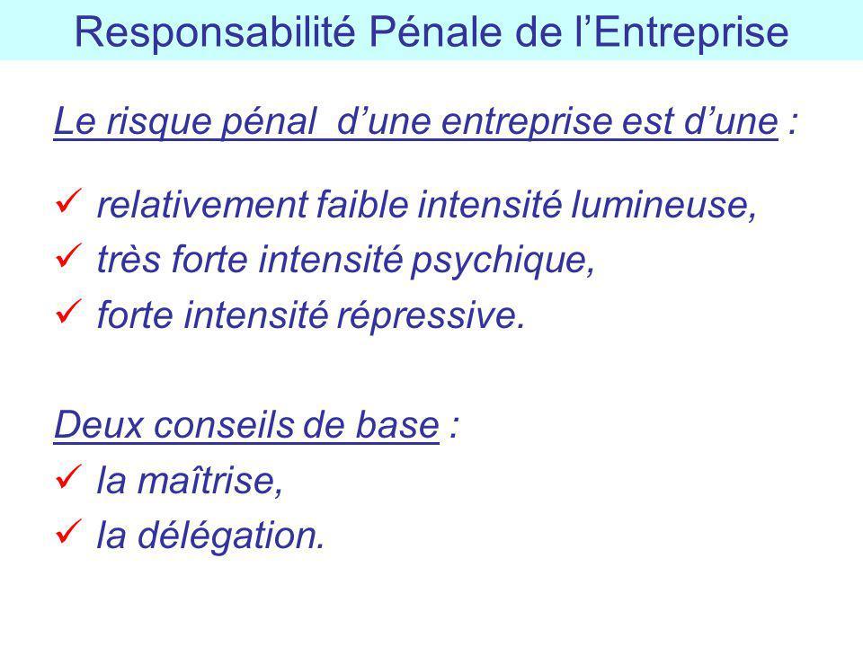 Responsabilité Pénale de lEntreprise Le risque pénal dune entreprise est dune : relativement faible intensité lumineuse, très forte intensité psychiqu