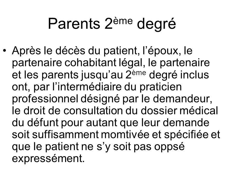 Parents 2 ème degré Après le décès du patient, lépoux, le partenaire cohabitant légal, le partenaire et les parents jusquau 2 ème degré inclus ont, pa