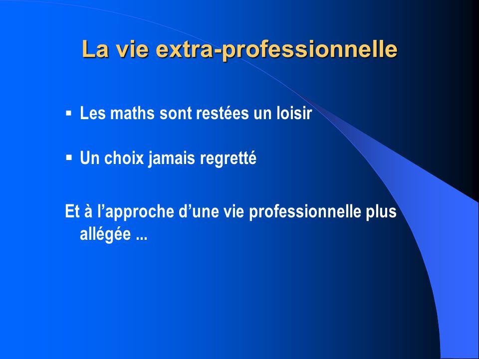 La vie extra-professionnelle Les maths sont restées un loisir Un choix jamais regretté Et à lapproche dune vie professionnelle plus allégée...