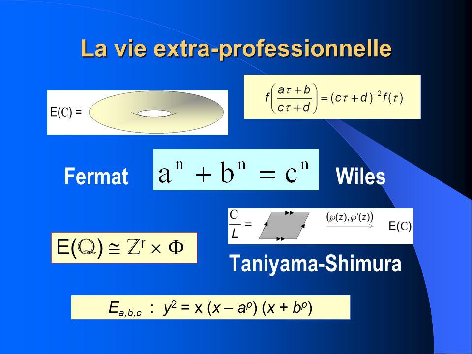 La vie extra-professionnelle Fermat Wiles Taniyama-Shimura E a,b,c : y 2 = x (x – a p ) (x + b p ) E( Q ) Z r