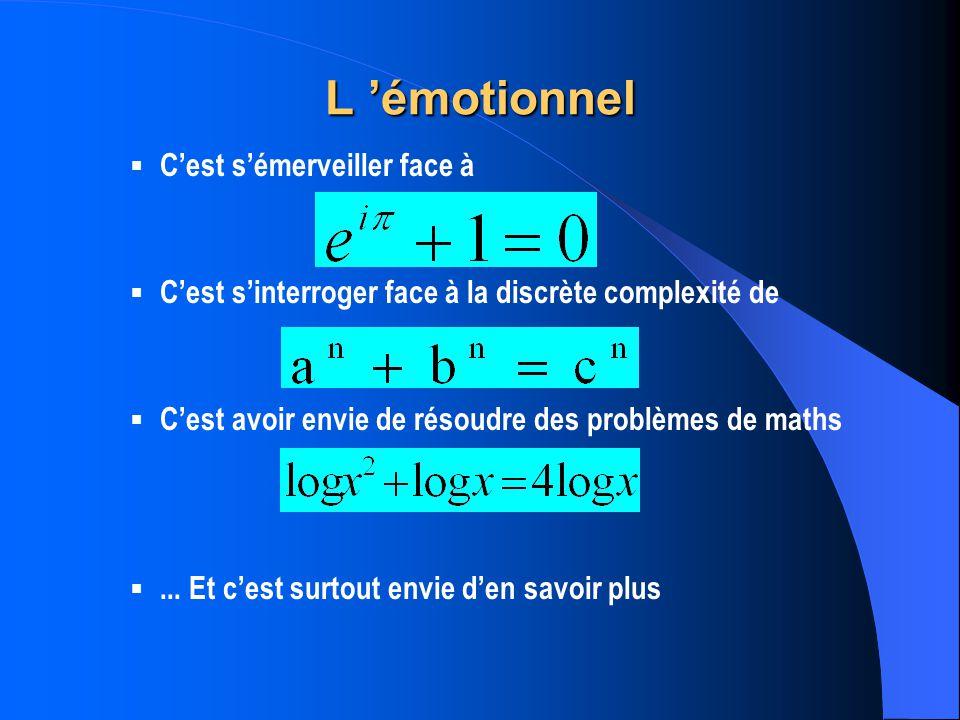 L émotionnel Cest sémerveiller face à Cest sinterroger face à la discrète complexité de Cest avoir envie de résoudre des problèmes de maths...