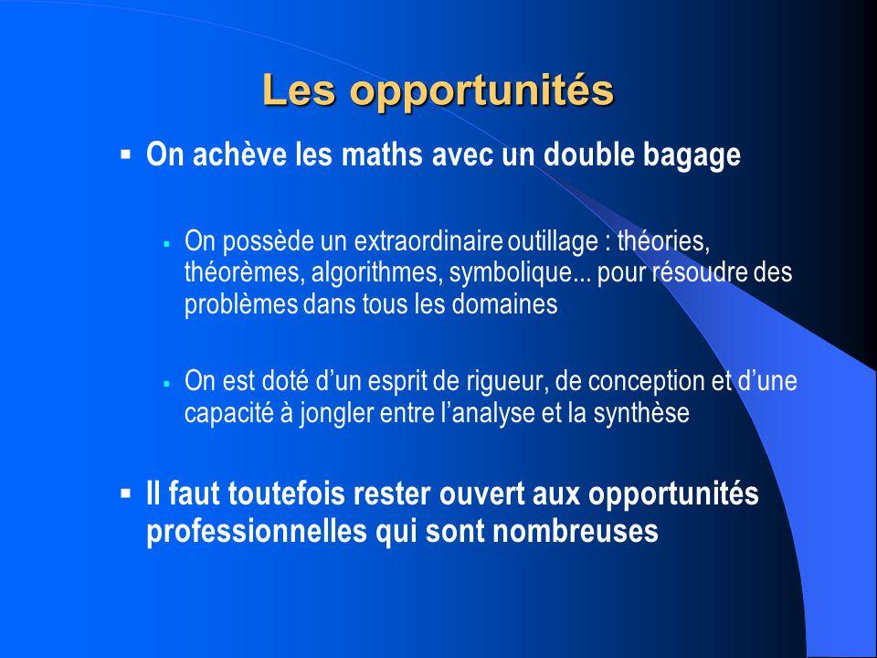 Les opportunités On achève les maths avec un double bagage On possède un extraordinaire outillage : théories, théorèmes, algorithmes, symbolique...