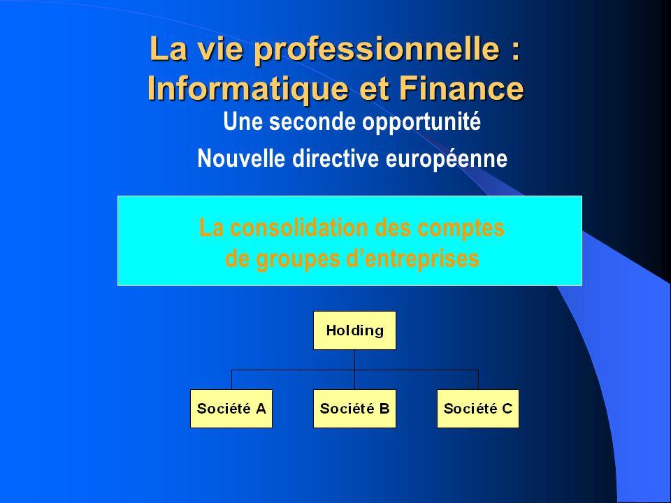 La vie professionnelle : Informatique et Finance Une seconde opportunité Nouvelle directive européenne La consolidation des comptes de groupes La consolidation des comptes de groupes dentreprises
