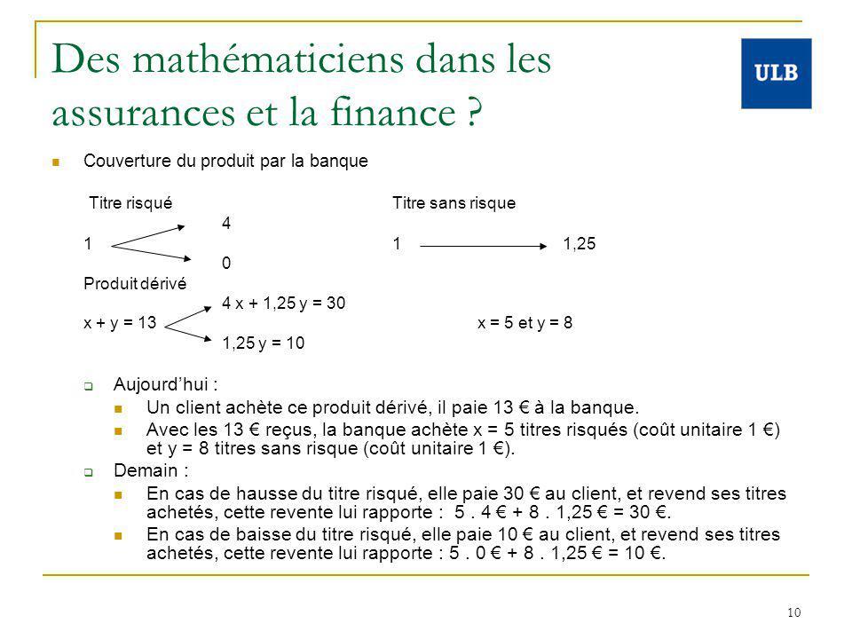 10 Des mathématiciens dans les assurances et la finance ? Couverture du produit par la banque Titre risqué Titre sans risque 4 1 1 1,25 0 Produit déri