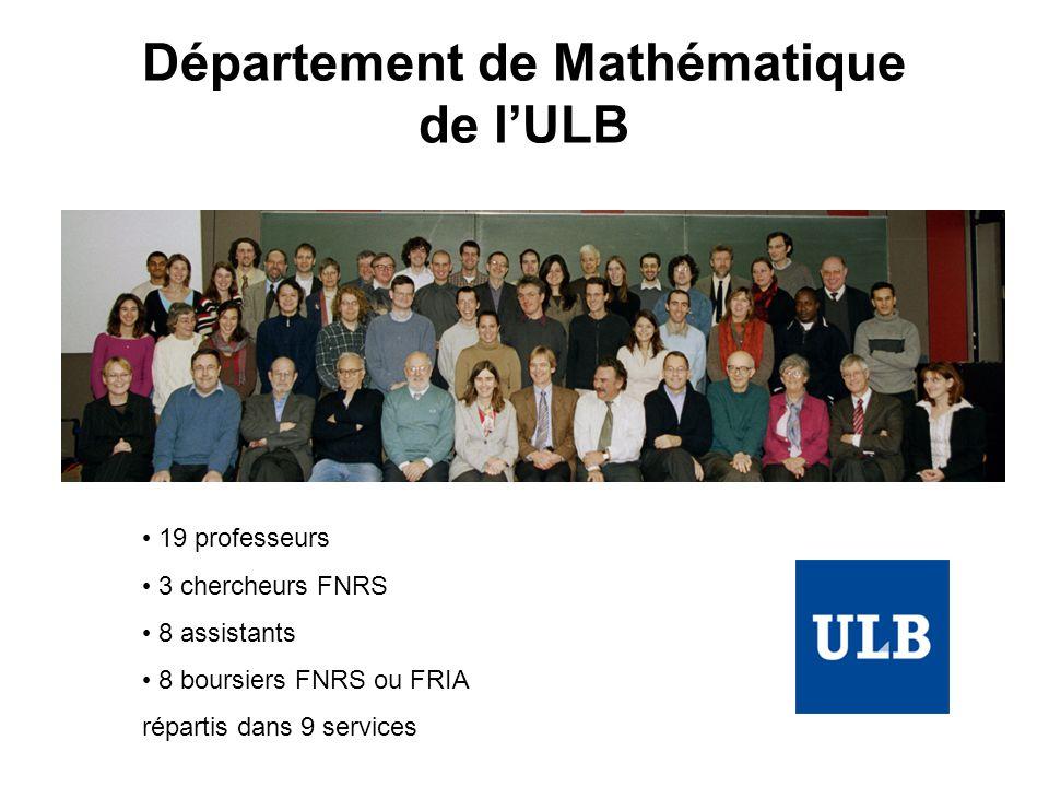 Département de Mathématique de lULB 19 professeurs 3 chercheurs FNRS 8 assistants 8 boursiers FNRS ou FRIA répartis dans 9 services