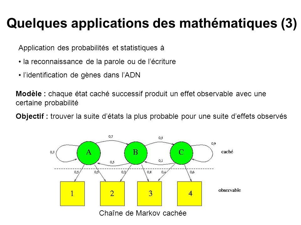 Quelques applications des mathématiques (3) Chaîne de Markov cachée Application des probabilités et statistiques à la reconnaissance de la parole ou de lécriture lidentification de gènes dans lADN Modèle : chaque état caché successif produit un effet observable avec une certaine probabilité Objectif : trouver la suite détats la plus probable pour une suite deffets observés