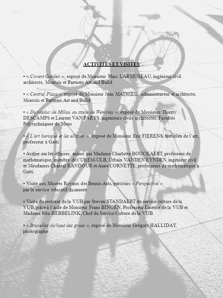 ACTIVITES ET VISITES « Covent Garden », exposé de Monsieur Marc LARMUSEAU, ingénieur civil architecte, Montois et Partners Art and Build « Central Plaza », exposé de Monsieur Jean MATHIEU, administrateur et architecte, Montois et Partners Art and Build « Du viaduc de Millau au stade de Wembley », exposé de Messieurs Thierry DESCAMPS et Laurent VAN PARYS, ingénieurs civils architectes, Facultés Polytechniques de Mons « Lart baroque et les ellipses », exposé de Monsieur Eric FIERENS, historien de lart, professeur à Gatti Atelier sur les ellipses, animé par Madame Charlotte BOUCKAERT, professeur de mathématique, membre de lUREM-ULB, Urbain VANDEN EYNDEN, ingénieur civil et Mesdames Chantal RANDOUR et Anne CORNETTE, professeurs de mathématique à Gatti Visite aux Musées Royaux des Beaux-Arts, parcours « Perspective » par le service éducatif du musée Visite du rectorat de la VUB par Steven STANDAERT du service culture de la VUB,grâce à laide de Monsieur Frans BINGEN, Professeur Emerite de la VUB et Madame Rita HEBBELINK, Chef du Service Culture de la VUB.