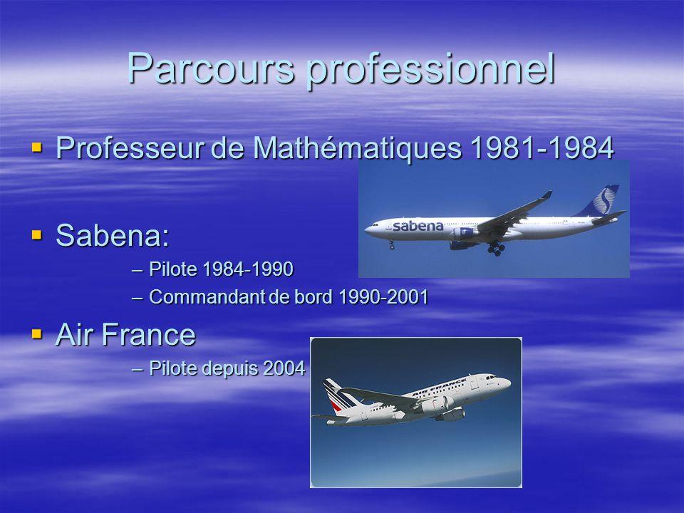 Parcours professionnel Professeur de Mathématiques 1981-1984 Professeur de Mathématiques 1981-1984 Sabena: Sabena: –Pilote 1984-1990 –Commandant de bo