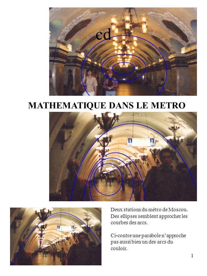 1 Deux stations du métro de Moscou. Des ellipses semblent approcher les courbes des arcs. Ci-contre une parabole napproche pas aussi bien un des arcs