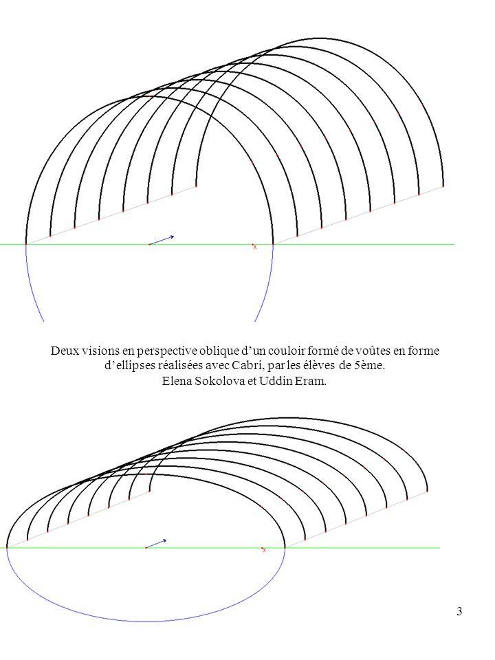 3 Deux visions en perspective oblique dun couloir formé de voûtes en forme dellipses réalisées avec Cabri, par les élèves de 5ème.
