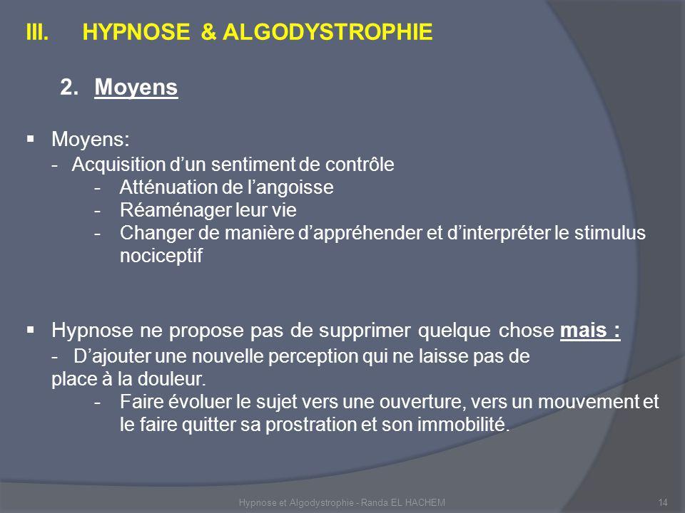 Hypnose et Algodystrophie - Randa EL HACHEM14 III.