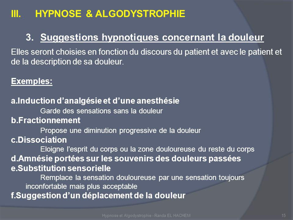 Hypnose et Algodystrophie - Randa EL HACHEM15 III.