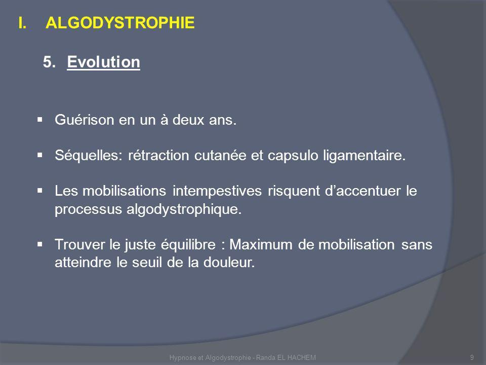 Hypnose et Algodystrophie - Randa EL HACHEM9 I.ALGODYSTROPHIE 5.Evolution Guérison en un à deux ans.