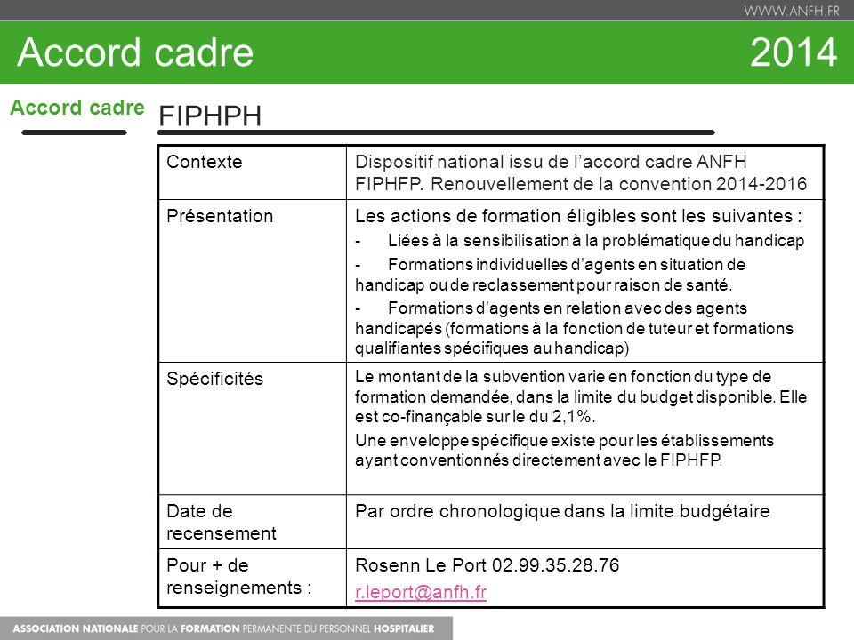 Accord cadre 2014 Accord cadre FIPHPH ContexteDispositif national issu de laccord cadre ANFH FIPHFP. Renouvellement de la convention 2014-2016 Présent