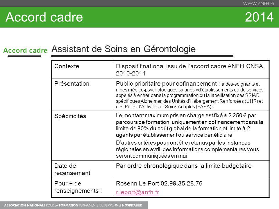 Accord cadre 2014 Accord cadre Assistant de Soins en Gérontologie ContexteDispositif national issu de laccord cadre ANFH CNSA 2010-2014 PrésentationPu