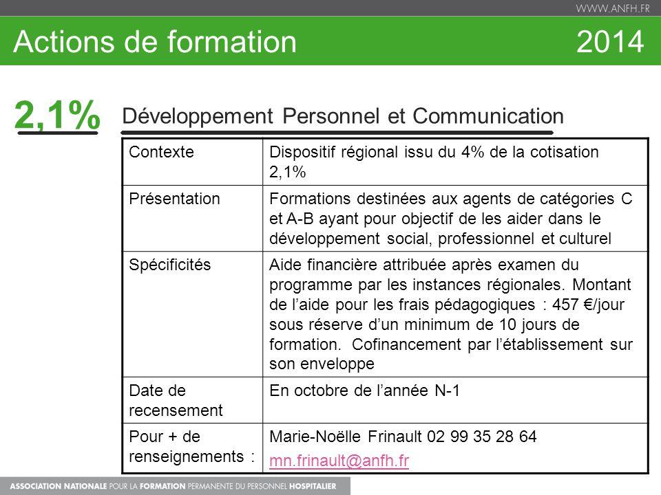 2,1% Développement Personnel et Communication ContexteDispositif régional issu du 4% de la cotisation 2,1% PrésentationFormations destinées aux agents