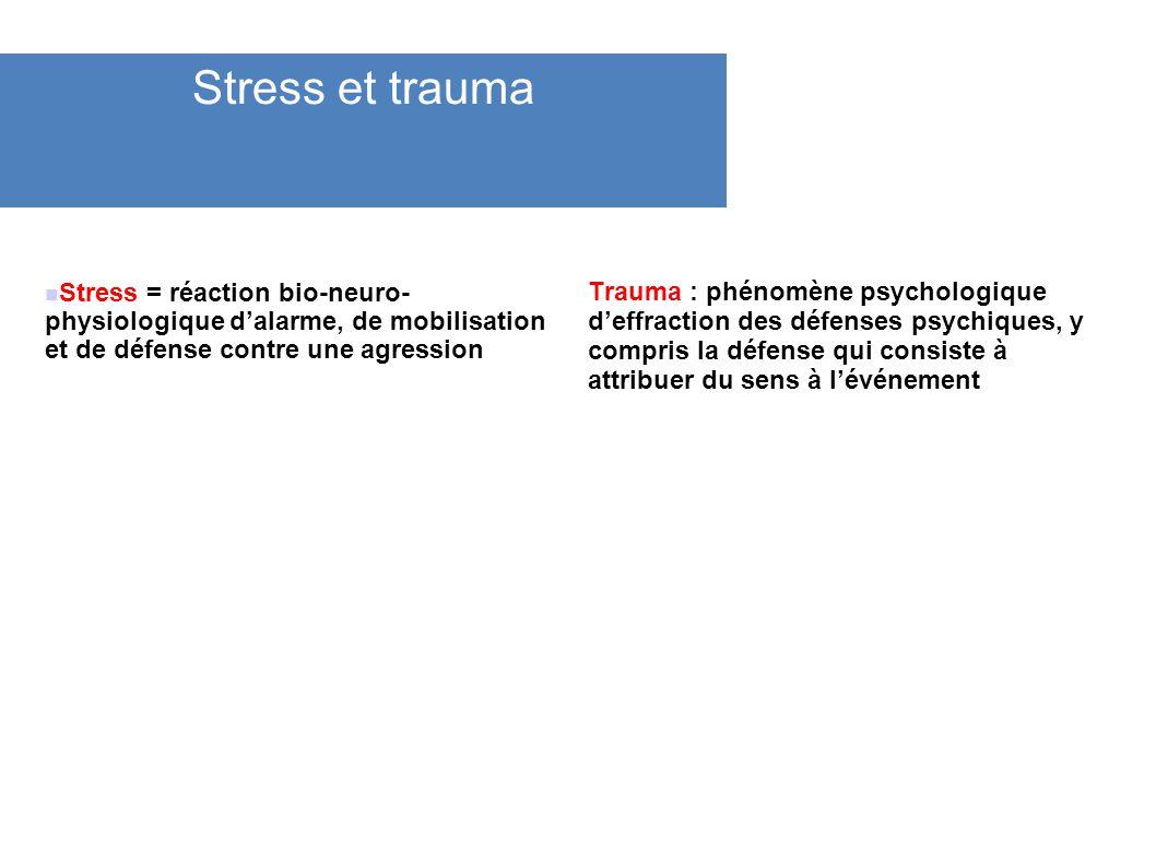 Stress et trauma Stress = réaction bio-neuro- physiologique dalarme, de mobilisation et de défense contre une agression Trauma : phénomène psychologiq