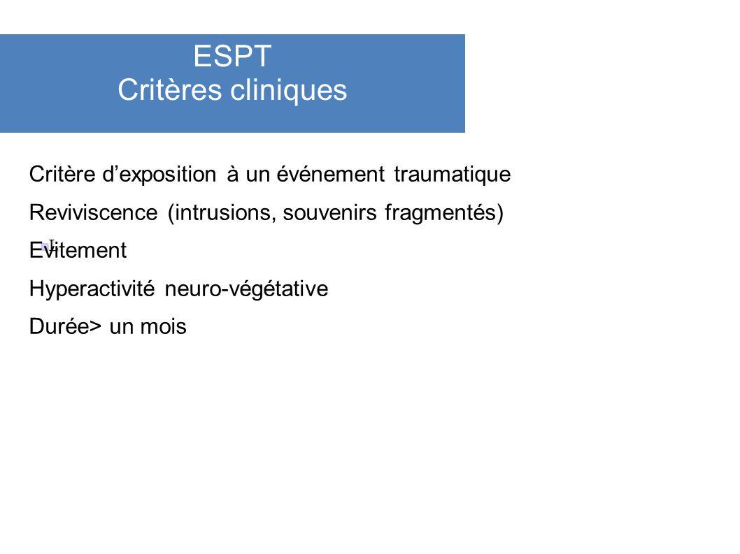 ESPT Critères cliniques L Critère dexposition à un événement traumatique Reviviscence (intrusions, souvenirs fragmentés) Evitement Hyperactivité neuro