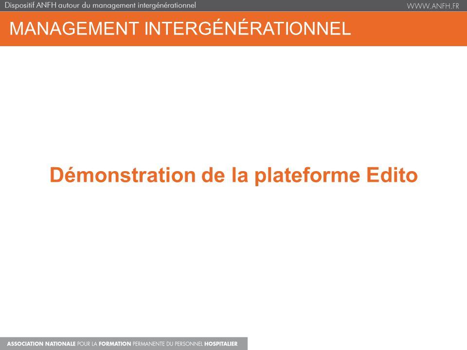 MANAGEMENT INTERGÉNÉRATIONNEL Démonstration de la plateforme Edito